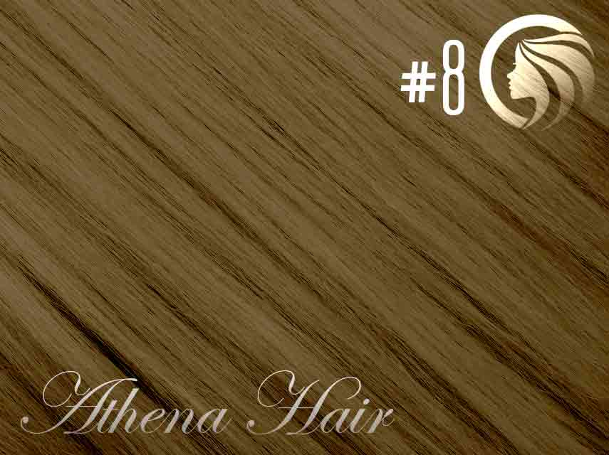 #8 Medium Brown – 18″ – 0.5 gram – iTip – Athena (50 strands per packet)