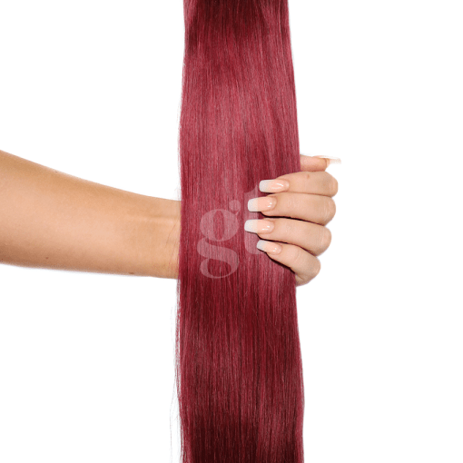 #99j Burgundy – 22″ – 150g – 5 Pieces – GL Seamless Remy Clip Ins