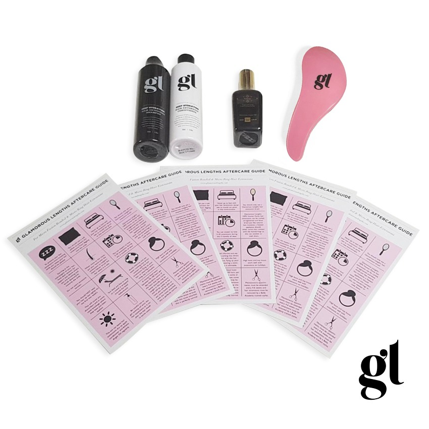 GL AFTERCARE KIT - PRO HAIR EXTENSION USE - INC. PINK/ BLACK DETANGLING BRUSH (WITH HANDLE)