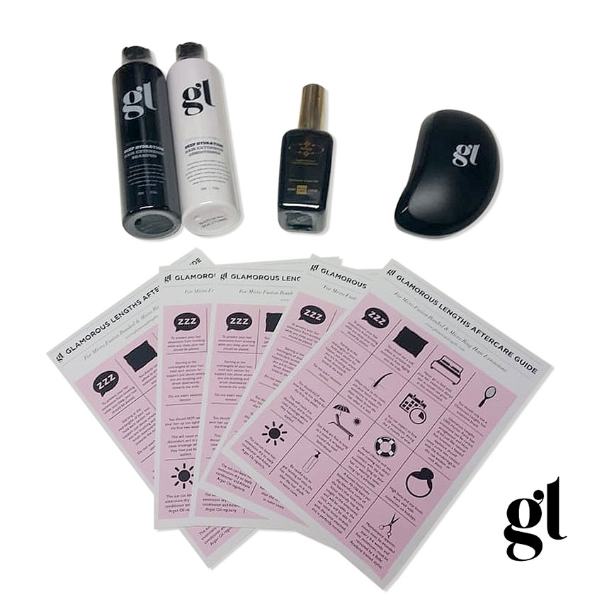 GL AFTERCARE KIT - PRO HAIR EXTENSION USE - INC. DETANGLING BRUSH