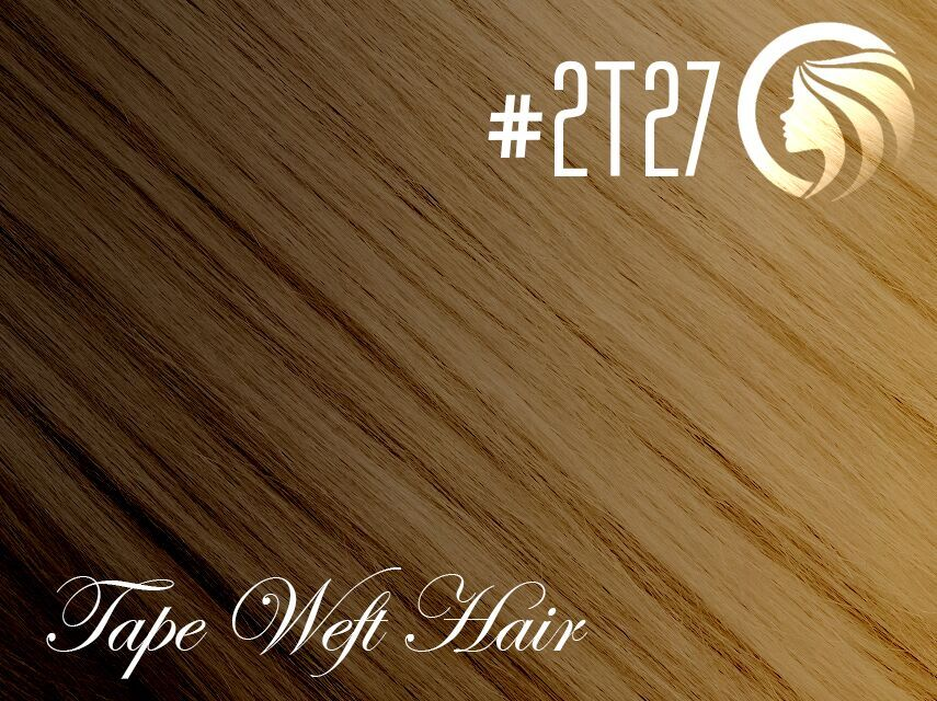 #2T27 Dark Brown/Strawberry Blonde – 18″ – 60 gram – 24 Pieces – Athena Tape Weft Ombre